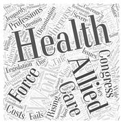 Experts Say the Allied Health Work Force Is in Jeopardy word cloud concept Stock Illustration
