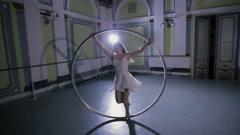 This is a big hula hoop performer Stock Footage