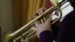 Artist playing trumpet on concert Stock Footage