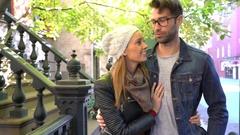 Trendy in love couple enjoying walk in Greenwich village Stock Footage
