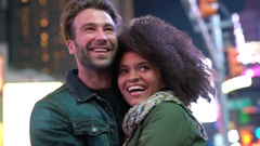 Couple at Times Square enjoying scenery Stock Footage