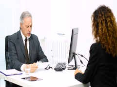 Business people having a conversation Stock Footage