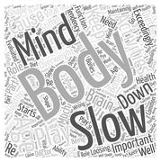 The Body and Mind in Healthy Aging word cloud concept Stock Illustration