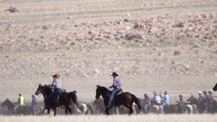 Cowboys on horses running through field for a round up event Stock Footage