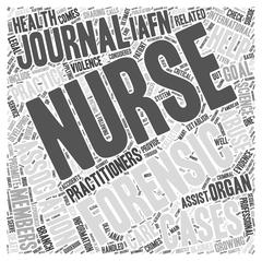 Forensic nursing journals word cloud concept Stock Illustration