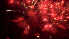 AERIAL: Flying inside big fireworks Stock Footage