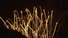 SLOW MOTION: Beautiful golden fireworks Stock Footage