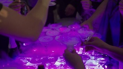 Pyramid of champagne on party Stock Footage