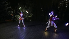 Show performance in LED costume at night outdoor Stock Footage