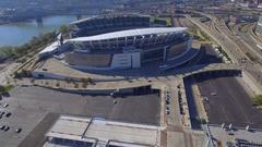Aerial video Paul Brown Stadium Cincinnati OH Stock Footage