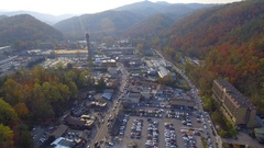 Aerial video tour Gatlinburg Tennessee lookout tower Stock Footage