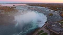 Aerial video tourists at Niagara Falls Stock Footage
