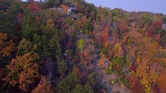 Aerial footage Gatlinburg sky lift Stock Footage