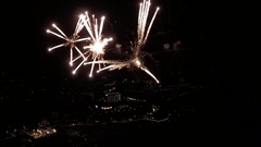AERIAL: Flying inside big fireworks for new year's Stock Footage