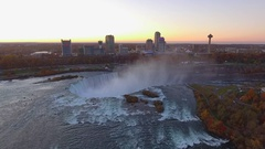 Aerial video dusk at Niagara Falls Stock Footage