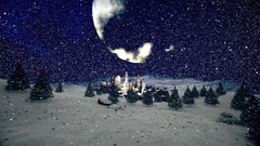 Christmas scene with night city and big Moon Stock Footage