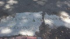 """God knows I am innocent"" marker, Salem Witch Trials Memorial Park, Salem, MA. Stock Footage"