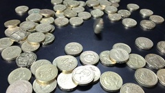 Pound coin spinning  in slow motion Stock Footage