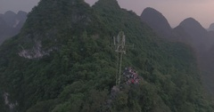 XingPing Fishing Village Aerial Shot Stock Footage