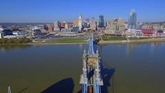 Downtown Cincinnati Ohio River 4k Stock Footage