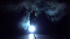 Girl dancing cha-cha-cha dance in the studio, silhouette. Slow motion Arkistovideo