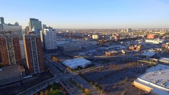 Highrise buildings Newport Jersey City aerial video Stock Footage