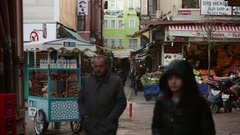 Typical street food of Istanbul - Simit Stock Footage