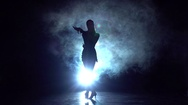 Cha-cha-cha dance in the studio, silhouette. Slow motion Stock Footage