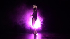 Dancer performs samba dance in the studio. Slow motion Stock Footage