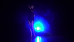 Girl dancing elements rumba dance in the studio. Slow motion Stock Footage