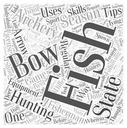 SF archery fishing hunting tips word cloud concept Stock Illustration