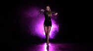 Dancer performs cha-cha-cha dance in the studio. Slow motion Stock Footage