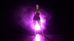 Dancer performs rumba dance in the studio. Slow motion Stock Footage