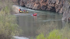 Rafting on the river in the spring Stock Footage