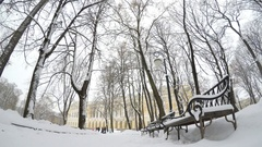 Snowy path in the city park. Mikhailovsky Garden, St.Petersburg, Russia Stock Footage