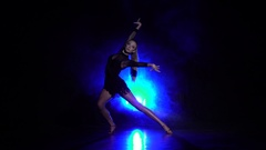 Woman dance in the studio. Slow motion Stock Footage