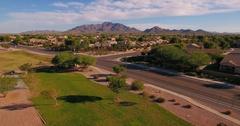 Aerial Establishing Shot Typical Arizona Neighborhood Intersection   Stock Footage