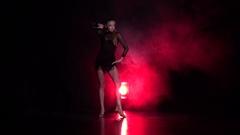 Woman dancing rumba in the studio. Slow motion Arkistovideo