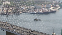 Golden bridge in Vladivostok Stock Footage