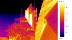 Building strctures, thermal efficiency - heat camera vision Stock Footage
