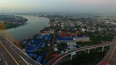 Bhumibol bridge bangkok thailand Stock Footage