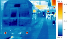 Thermal imaging - transport - passengers board a suburban train Stock Footage