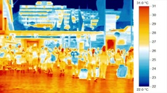 Urban environments, heat islands - thermal time-lapse, pedestrians Stock Footage