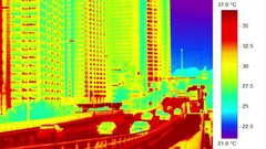 Urban heat island - elevated highway and trafffic, heat sink Stock Footage