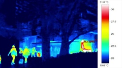 Thermal infrared heat mapping image of urban environment Stock Footage