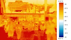 Infra-red thermal image of people walking in urban environment Stock Footage
