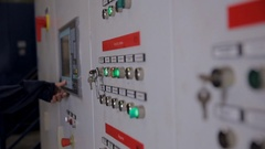 Control cabinets, displays at an electrical substation at power plant, factory Stock Footage