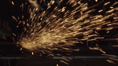 Shower of Sparks from Grinder in Super Slow Motion Stock Footage