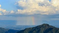 Time-lapse of cloud with rain and rainbow over mountain, Phetchabun, Thailand Stock Footage