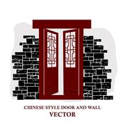 Chinese style window tracery pattern door and wall. Stock Illustration